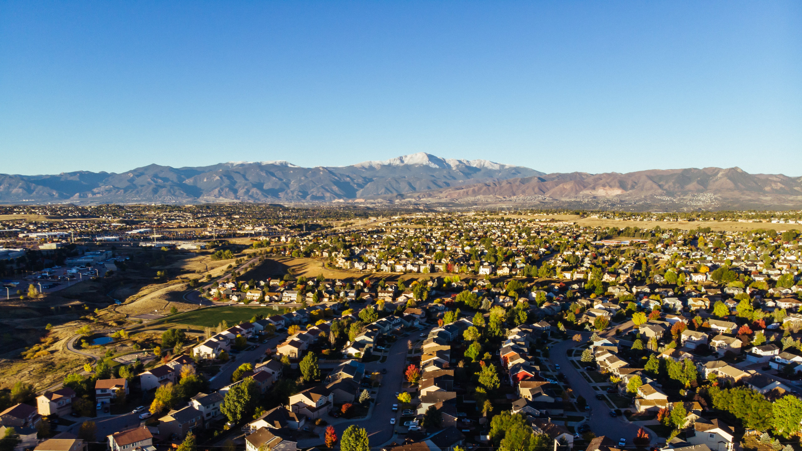 City of Colorado Springs and Pikes Peak Early Fall Morning