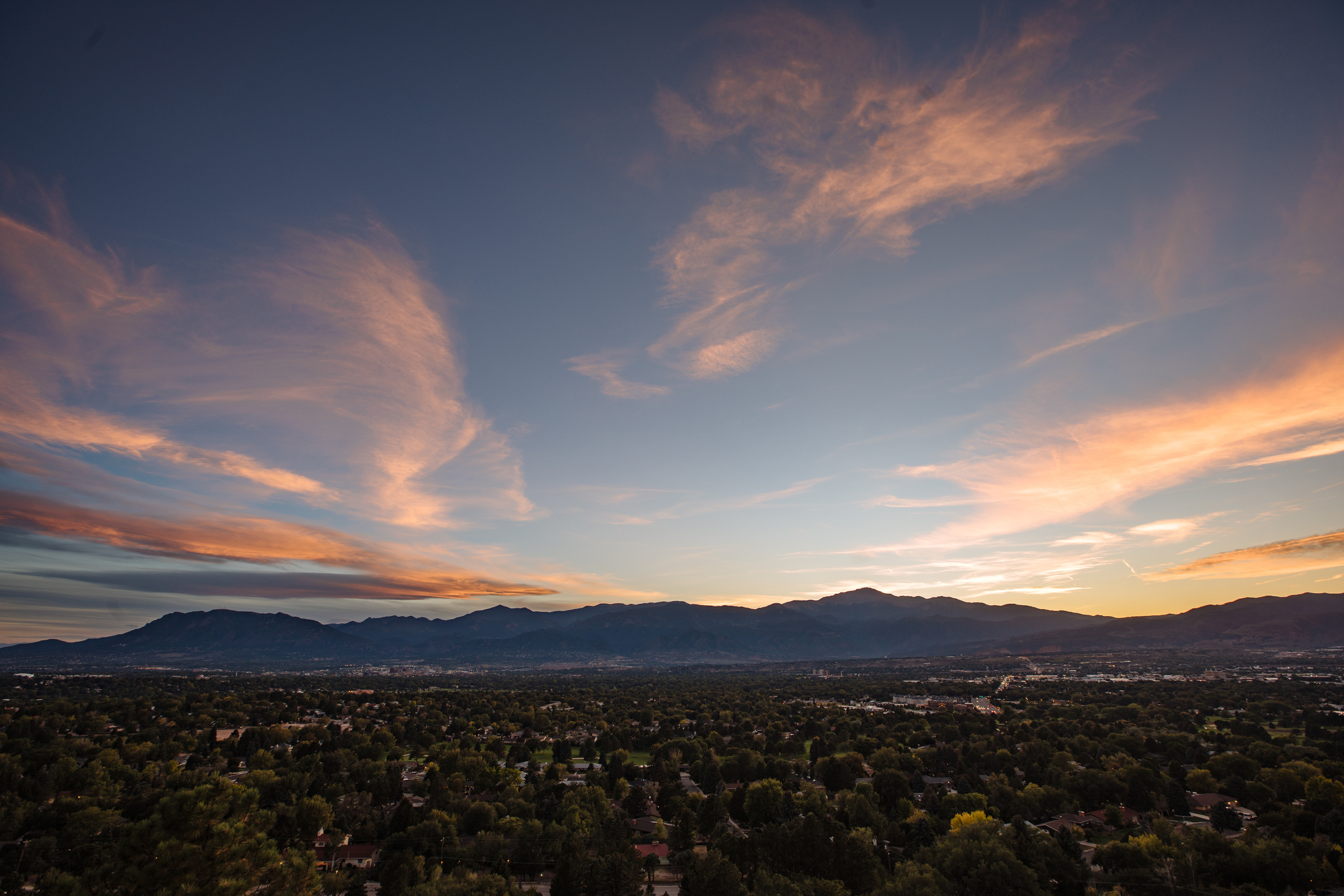 City of Colorado Springs and Pikes Peak At Sunset